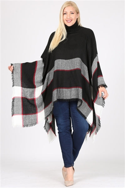 Plus Size Pull Over Poncho Black - Pack of 6