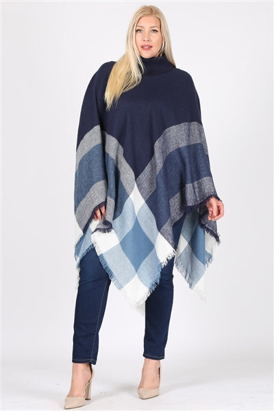 Plus Size Pull Over Poncho Navy - Pack of 6
