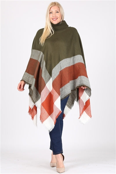 Plus Size Pull Over Poncho Olive - Pack of 6