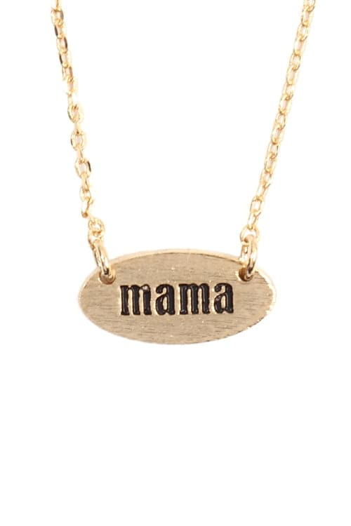 """Mama"" Oval Brass Chain Necklace Gold - Pack of 6"