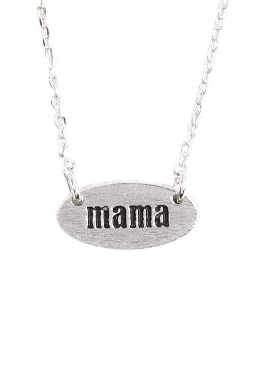 """Mama"" Oval Brass Chain Necklace Silver - Pack of 6"