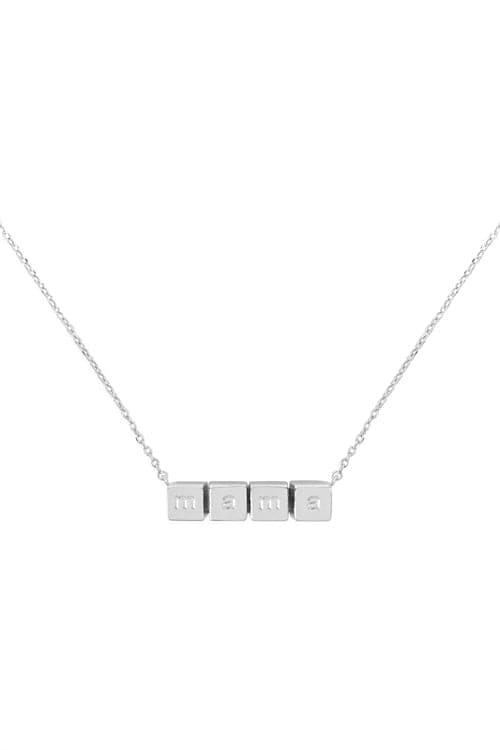 Mama Cube Chain Necklace Silver - Pack of 6