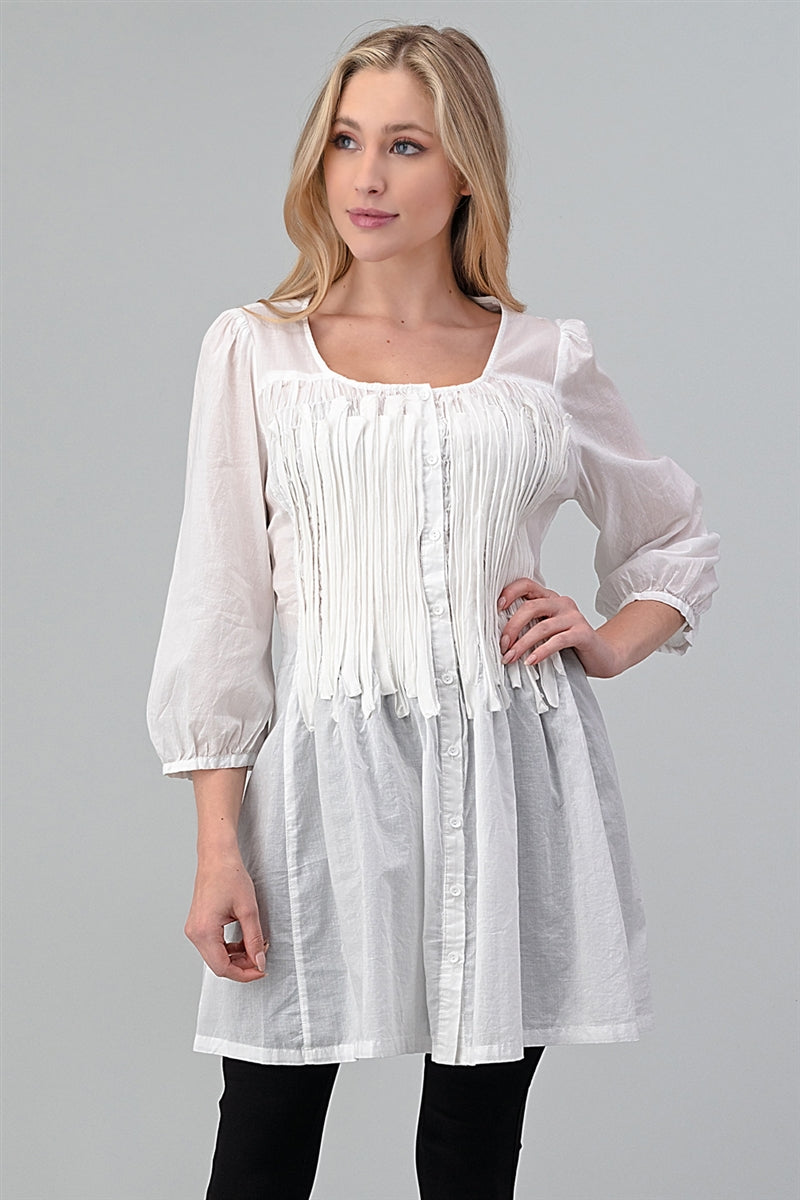 Woven Smocked Button Down Tunic Dress Off White - Pack of 6