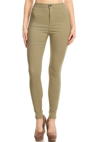High Waist Super Stretch Skinny Jeggings Pants Mauve - Pack of 12