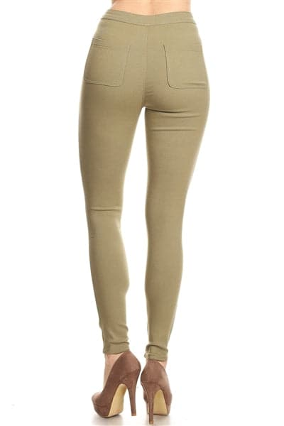 High Waist Super Stretch Skinny Jeggings Pants Sage - Pack of 12