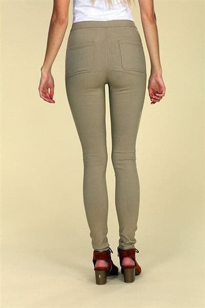 High Waist Super Stretch Skinny Jeggings Pants Taupe - Pack of 12
