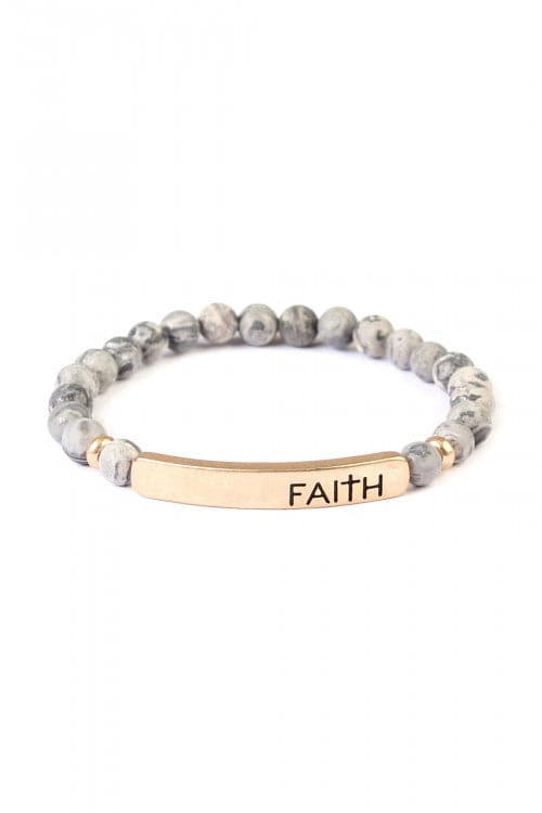 Faith Natural Stone Stretch Bracelet Black - Pack of 6