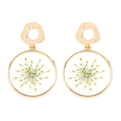 Natural Flower Acetate Drop Earrings White - Pack of 6