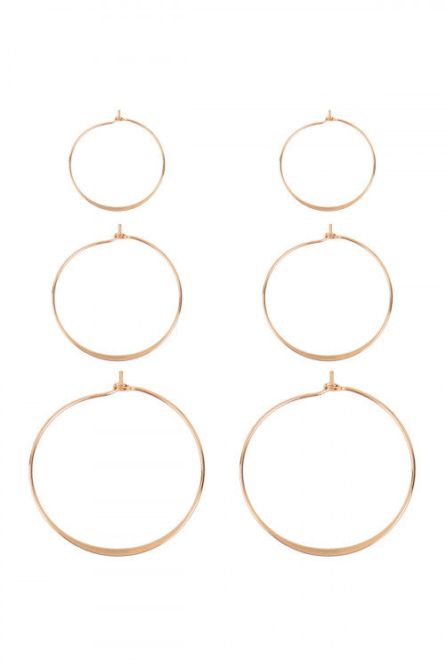 3 Pairs Wire Hammered Hoop Earrings Gold - Pack of 6
