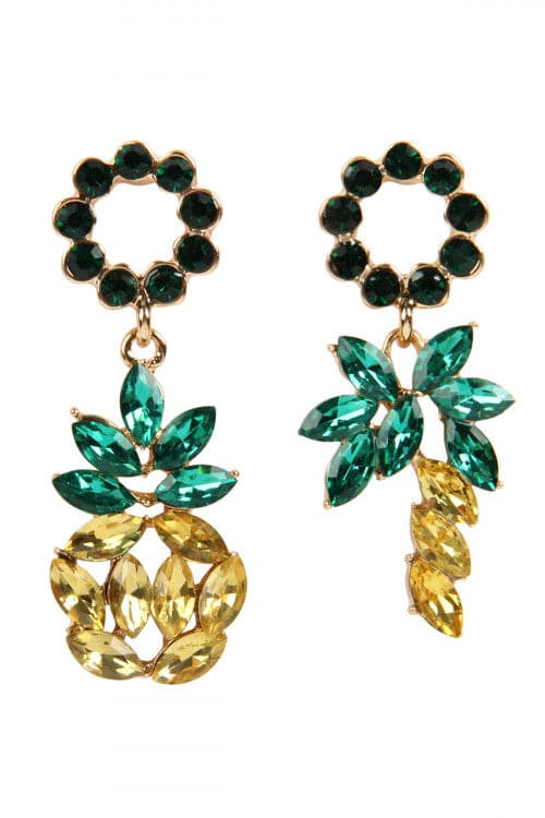 Pineapple Rhinestone Two Style Earrings - Pack of 6