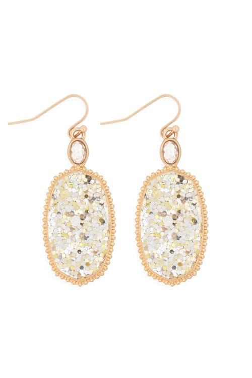 Faceted Sequin Drop Earrings Gold - Pack of 6