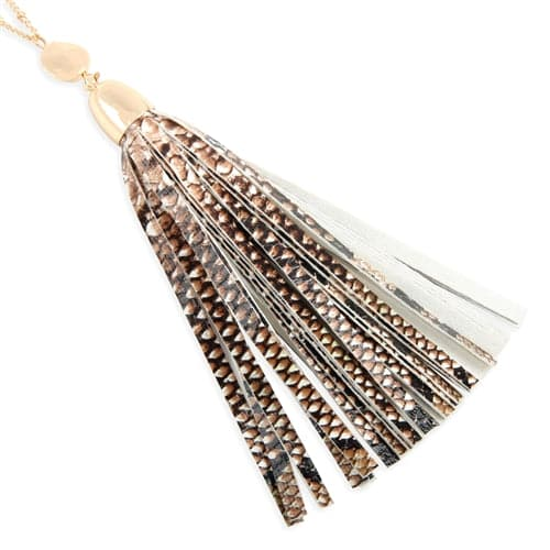 Snake Skin Printed Leather Tassel Necklace Light Brown - Pack of 6