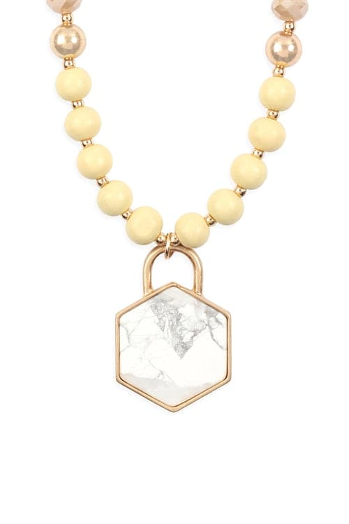 Hexagon Pendant Beaded Necklace Ivory - Pack of 6