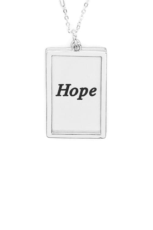 Hope Etched Brass Box Pendant Necklace Matte Silver - Pack of 6