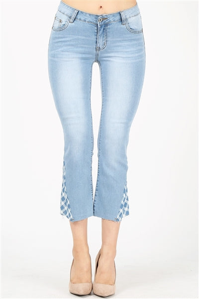 Plaid Contrast Kick Flare Cropped Jeans - Pack of 12