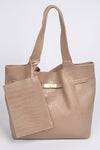 2 Way Strap Handle Tote Leather Bag with Pouch Set Beige