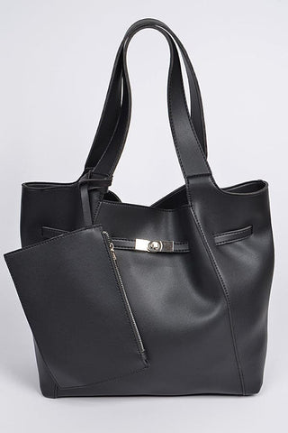 2 Way Strap Handle Tote Leather Bag with Pouch Set Gray