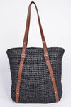 Laced Pattern Weaved Tote Bag Beige