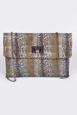 Snake Skin Single Zipper Wallet - Brown