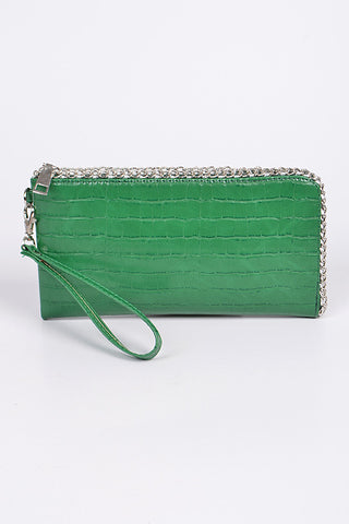 Feather Bag Clutch Woven PU Leather