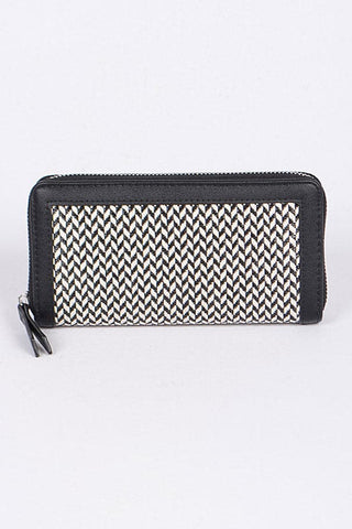 Fresh Green Herb Double Zipper Wallet Gray