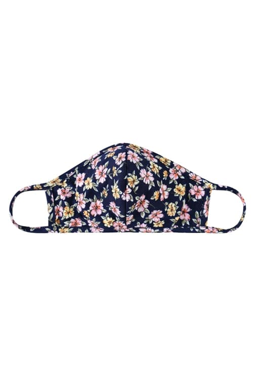 Floral Reusable Face Mask For Kids Navy - Pack of 12
