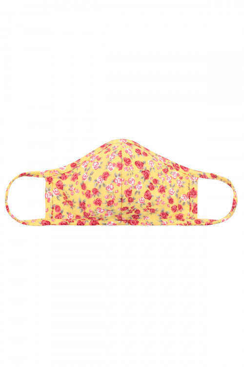 Floral Reusable Face Masks For Kids With Filter Pocket Yellow - Pack of 12
