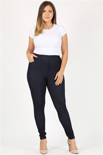 Plus size pull-on Silhouette Stretchy Denim Jeggings Navy - Pack of 10
