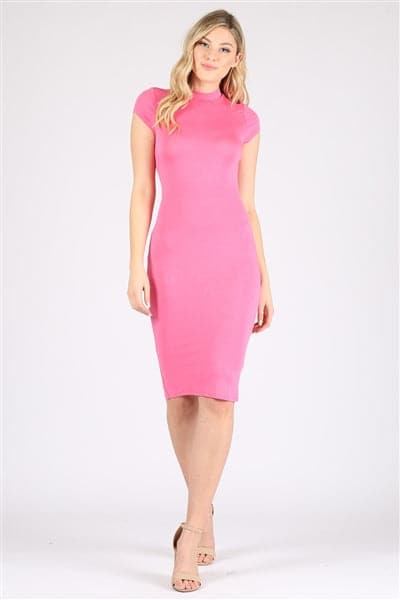 Cap Sleeve Solid Dresses Pink - Pack of 6