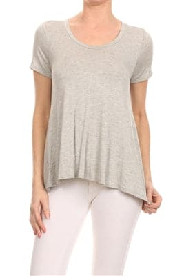 Basic Solid Loose Fit Top Grey - Pack of 6