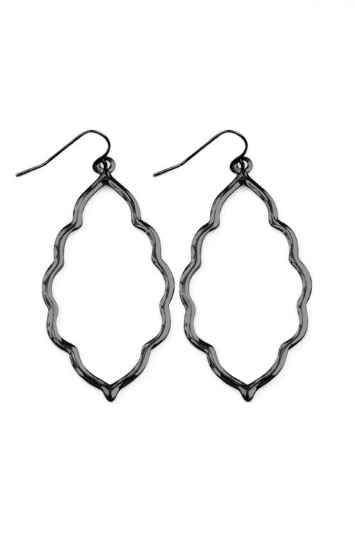 Moroccan Cutout Earrings Hematite