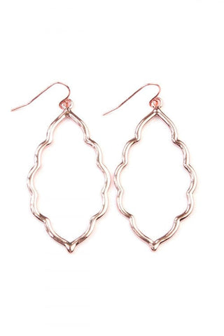 Round Textured Dangle Hook Earrings Rose Gold - Pack of 6