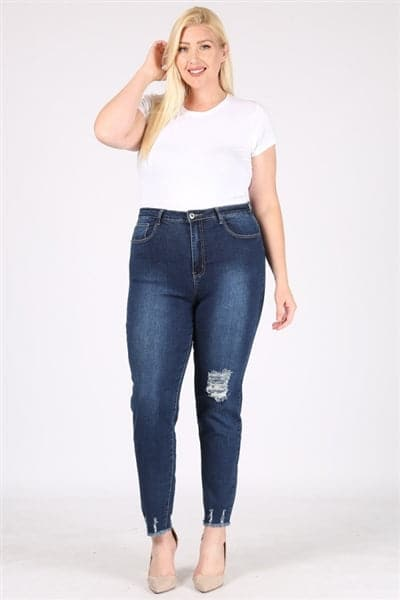Plus Size Mid-Rise Distressed Denim Jeans - Pack of 6