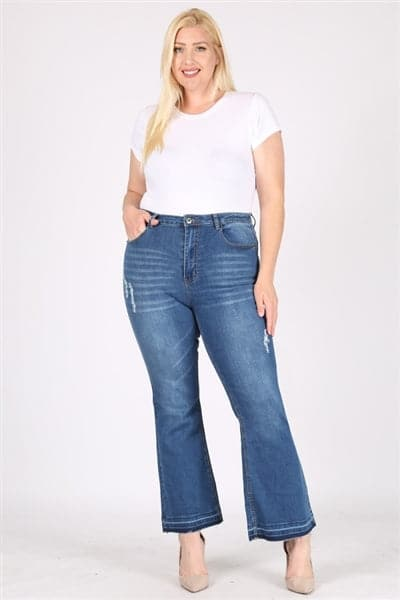 Plus Size Mid-Rise Flared Denim Jeans - Pack of 6