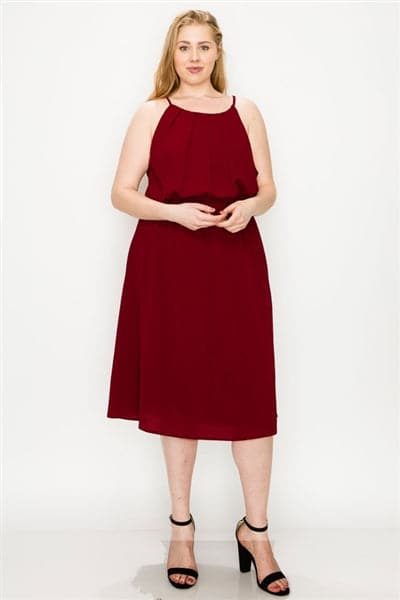 Plus Size Koshibo Midi-Dresses Burgundy - Pack of 6