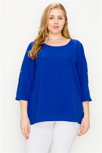 Plus Size Koshibo Roll-Tabs Sleeves Top Royal - Pack of 6