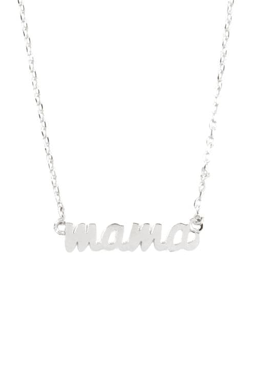 """Mama"" Script Brass Chain Necklace Silver - Pack of 6"
