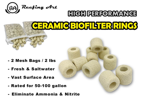 Ceramic Bio Filter Rings Vast Surface Area for Aquarium Sump Canister (1 Box / 24 pcs)
