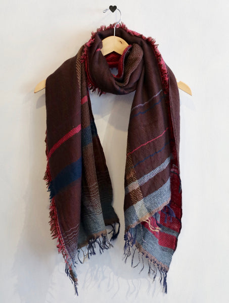 Tamaki Niime Roots Shawl (Brown/Violet)
