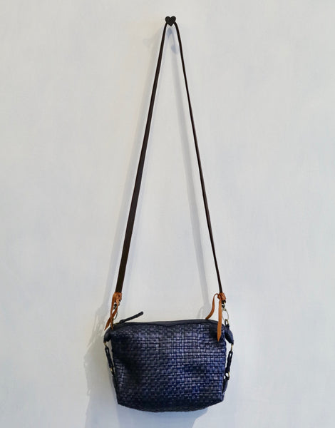 En Shalla Metallic Blue Black Crossbody Bag