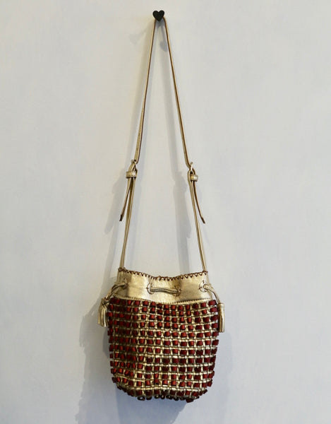 En Shalla Antique Gold Crossbody Bag