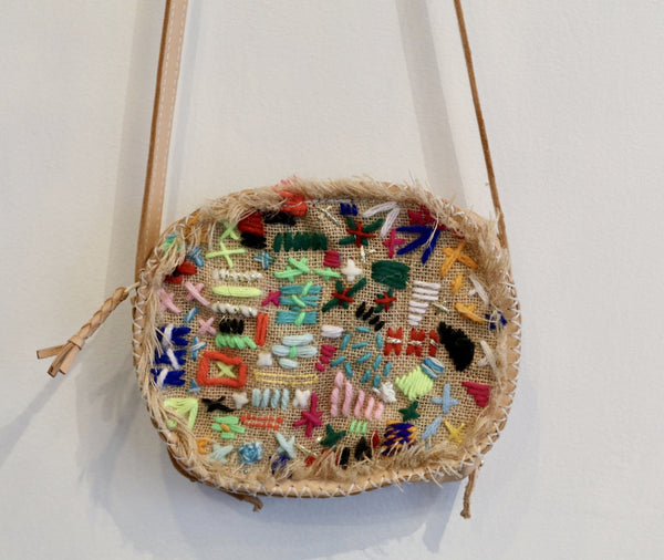 En Shalla Embroidered Patch Leather Crossbody Bag