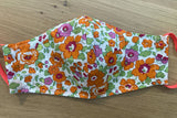 Liberty of London fabric Face Mask- Betsy green orange