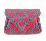 Carmine Dot Leather Mini Wallet - Neon Pink