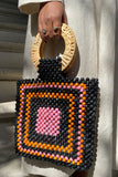 Black Multi-Beaded Bag with Woven Handle