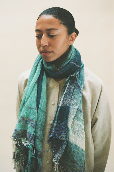 Tamaki Niime Light Teal Scarf