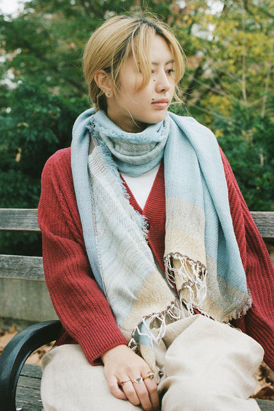 Tamaki Niime Light Blue Scarf