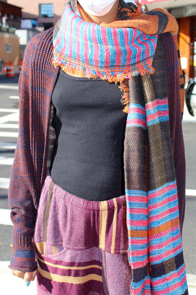 Tamaki Niime Large Brown Scarf