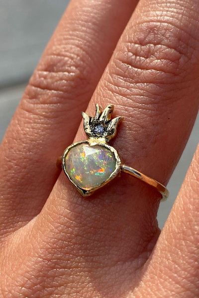Opal Sacred Heart Ring