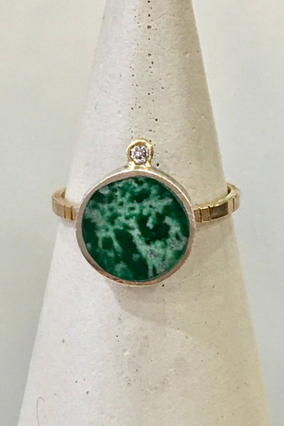 Young In The Mountains Geo Circle Ring in Lucin Variscite